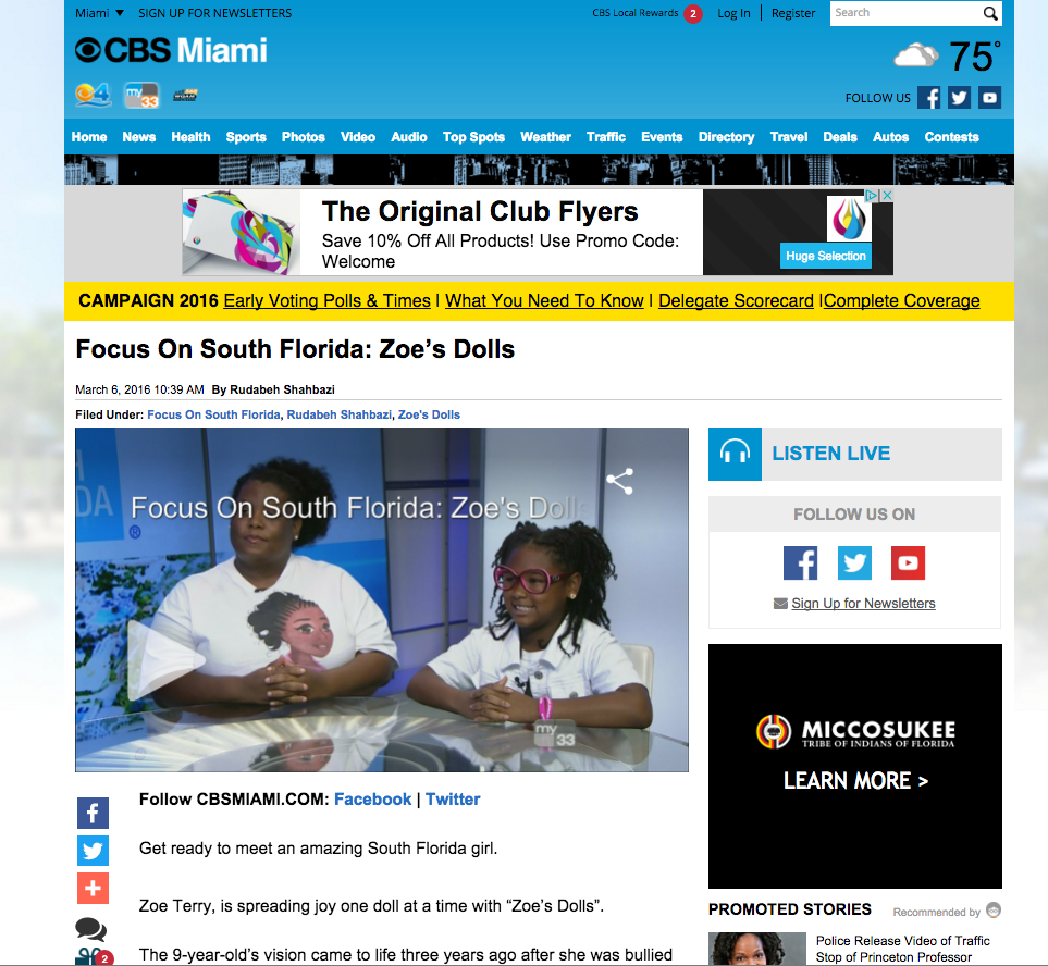 CBS Miami, Focus on South Florida, March 2016 – Zoe's Dolls